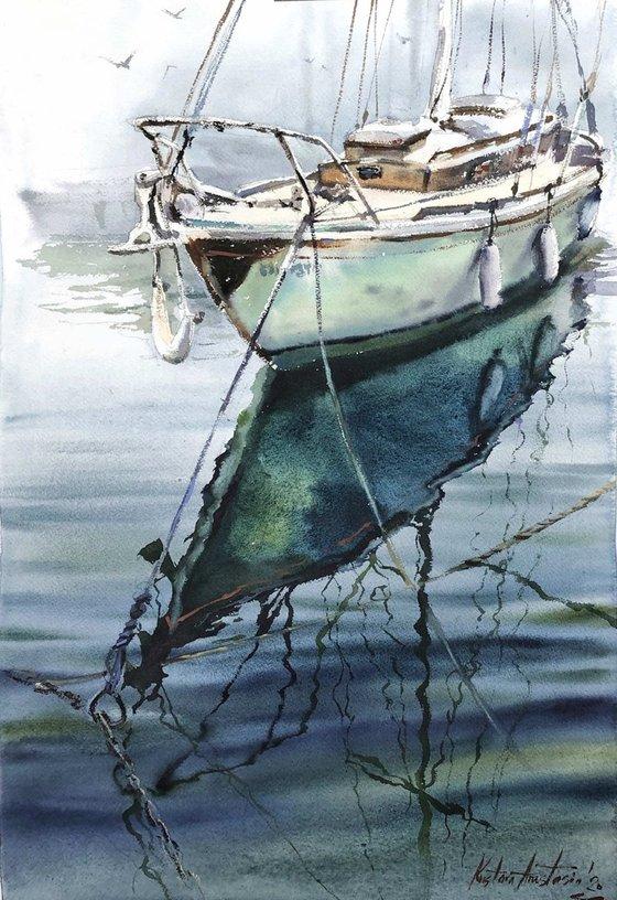 Turquose boat 38x56 cm