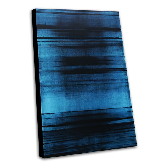 BLUE FREQUENCY - 120 X 80 CMS - ABSTRACT PAINTING * BLUE * LARGE FORMAT * MONOCHROME