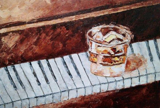 Whiskey solo, Bourbon Painting Original Art Whiskey Ice Wall Art Piano Keys Artwork