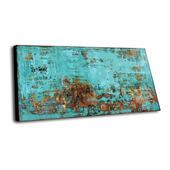 TERRA INCOGNITA - ABSTRACT ACRYLIC PAINTING ON CANVAS * LARGE FORMAT * TURQUOISE