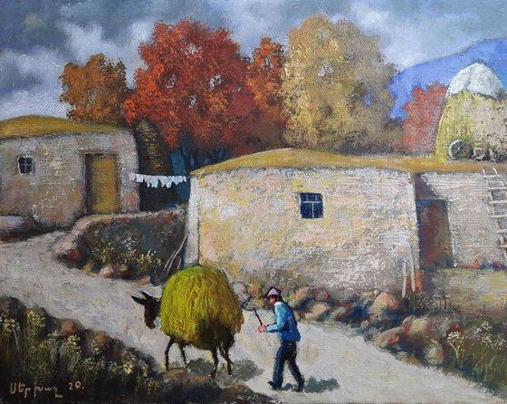 Autumn in the village (50x40cm, oil painting, ready to hang)