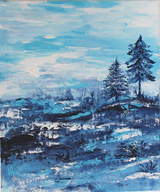 """""""Winter Wonderland-2, 2018"""" - Snowy Blue Landscape & Trees - Acrylic Painting on a Canvas Board"""
