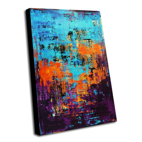 FRENCH RIVIERA - 120 X 80 CMS - COLORFUL ABSTRACT ACRYLIC PAINTING ON CANVAS
