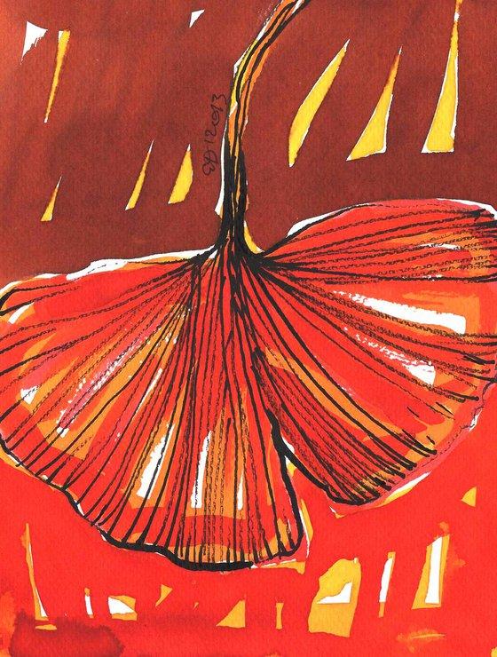 Ginkgo Biloba  Leaf - framed