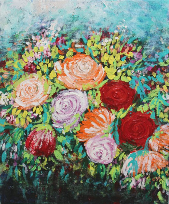Happy flowers bouquet - Floral painting - Garden -Acrylic painting on canvas -Palette knife and brush work - Still life- valentine's gift