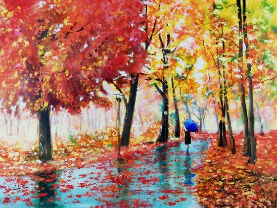 Autumn rain and an umbrella