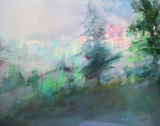 Color coolness abstract lanscape 72x92cm