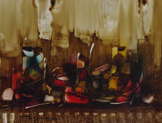 Abstract, Still Life oil painting, Original Handmade art, contemporary, Unique style, One of a Kind