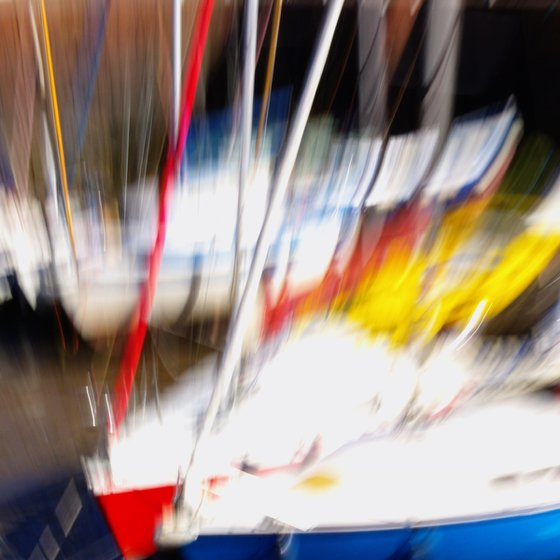 Red Yellow Blue 2, abstract impressionist boats in harbour