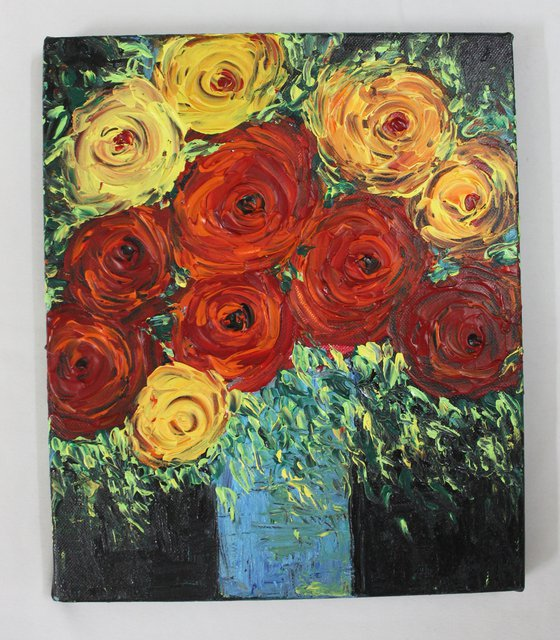 Roses are Red and Yellow- Palette knife floral still life painting - impasto artwork.