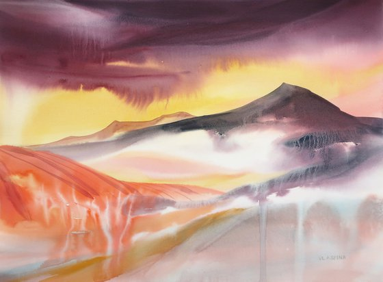 Mountains. 75*55 cm Abstract landscape.