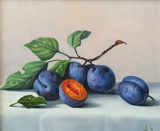 Still life with plums-3 (24x30cm, oil painting, ready to hang)