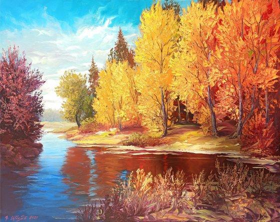 Autumn forest (80x100cm, oil painting, palette knife)