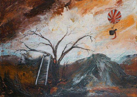 Chasing Dreams (hot wax on greyboard)