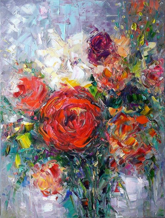 Bright Bouquet Flowers, Flowers Rose Painting, Floral Original Art Peonies Flowers Impasto Floral Flower Painting Art Painting Canvas by Kseniya Kovalenko