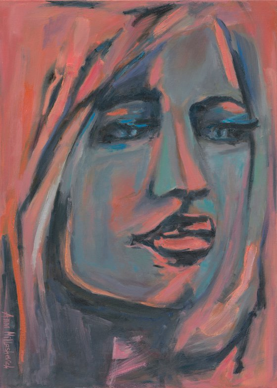 HIGHNESS - Modern woman portrait painting, Colorful female canvas art, Contemporary original expressionist female artwork