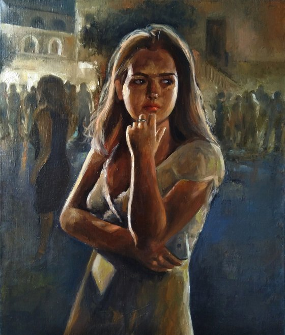 It's beautiful at night in Italy 50x60cm ,oil/canvas, impressionistic figure