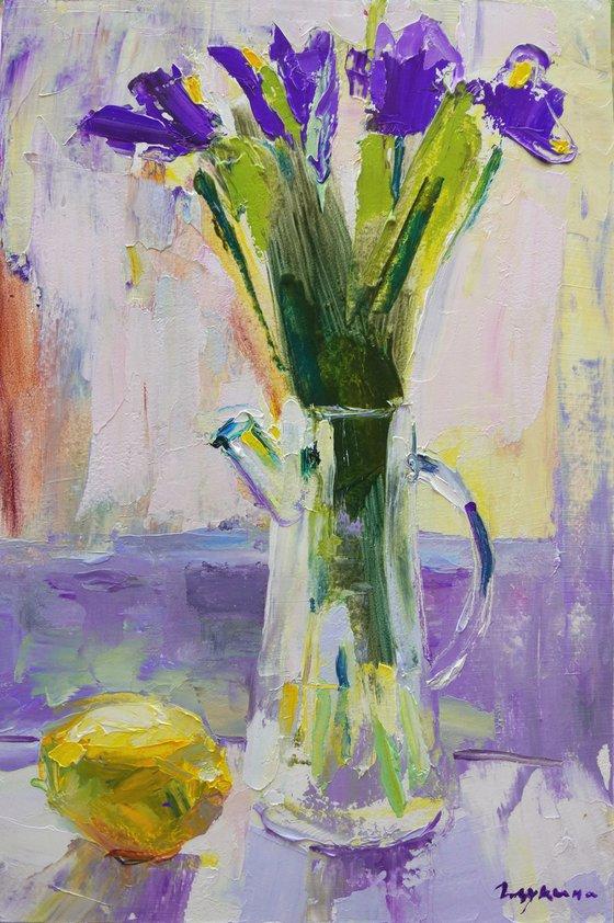 Irises and lemon. Original oil painting