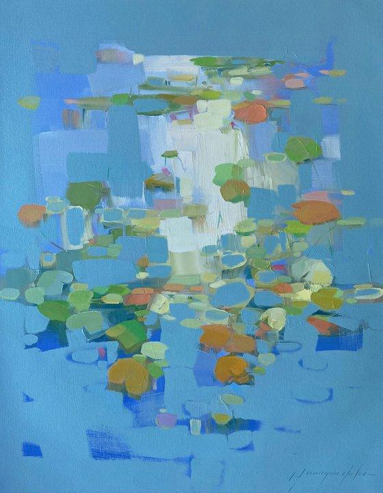Waterlilies, Original oil painting, Handmade artwork, One of a kind
