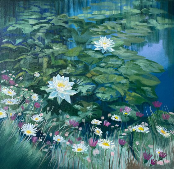 Water Lilies and Wild Flowers