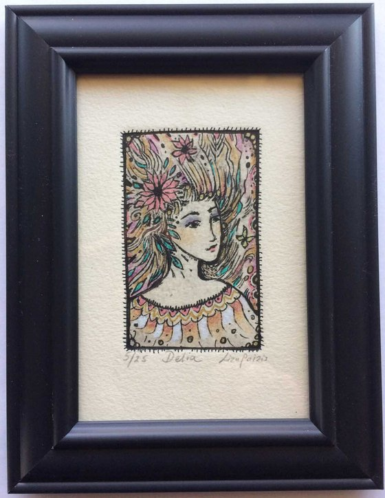 Flower Girl Etching limited edition Delia whimsical little girl art