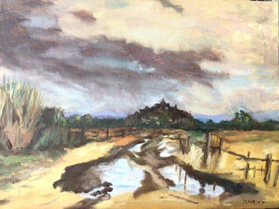 Muddy path towards Rye