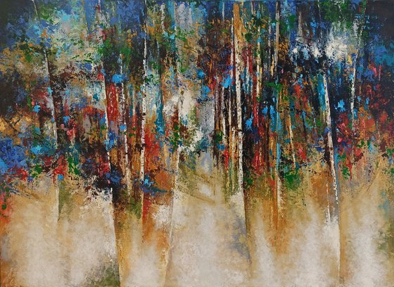 Abstract forest(100x70cm, oil painting, ready to hang)