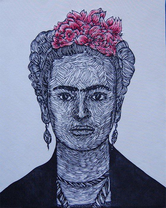 Frida (woodcut & embroidery)