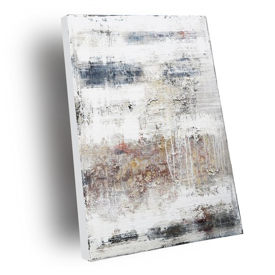 OVERLAY - ABSTRACT ACRYLIC PAINTING TEXTURED * PASTEL COLORS * READY TO HANG