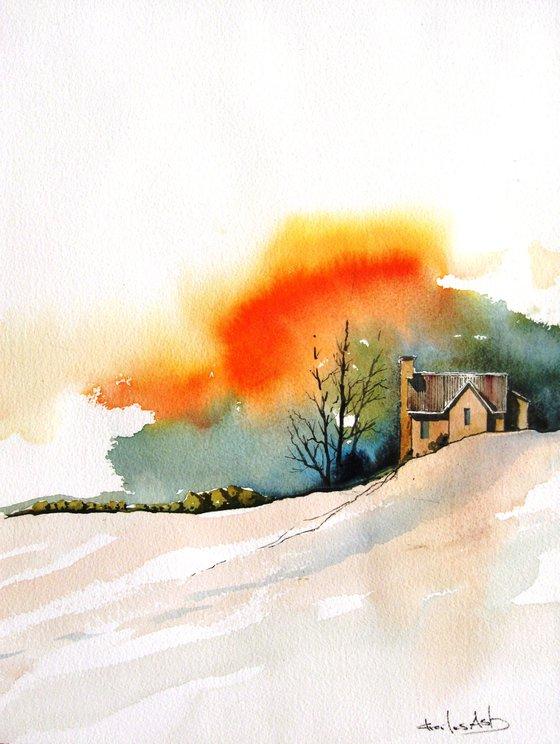Autumn Storm - Original Watercolor Painting