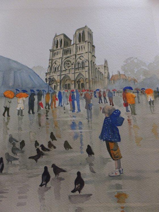 Notre Dame de Paris in the Rain