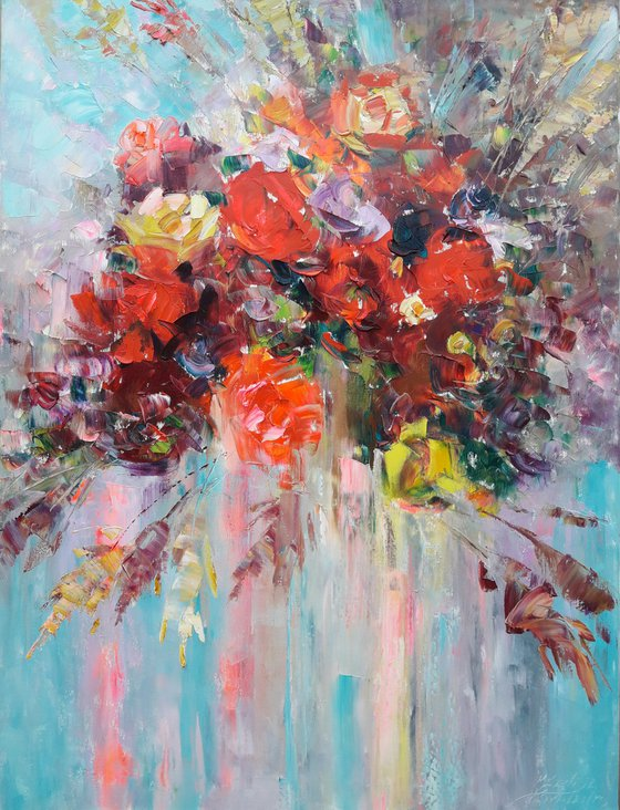 painting Bouquet Red roses, Red Rose Painting, Flower Original Art, Floral Wall Art Painting