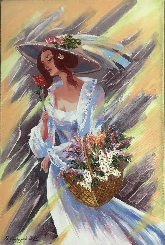 Bride (40x60cm, oil/canvas, abstract portrait)