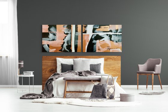 Abstraction No. 3221 XL black & white with copper -  set of 2