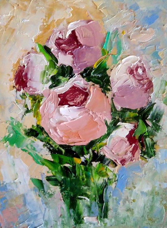 Bouquet of Peonies Painting Original Art Small Flower Artwork Pink Floral Wall Art