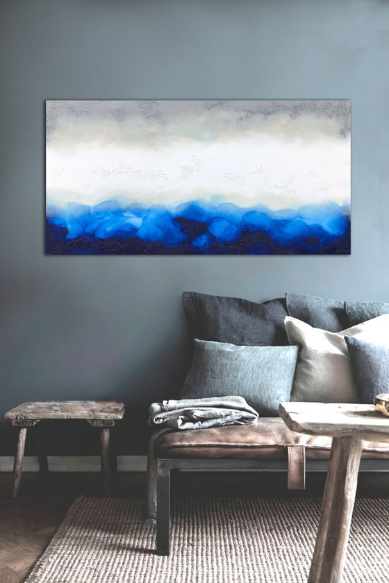 blue and grey rawness  (140 x 70 cm) Dee Brown