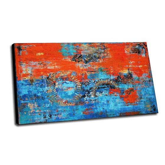 RIMINI - 180 x 100 CMS - ABSTRACT PAINTING - TEXTURED - XXL - BLUE - ORANGE