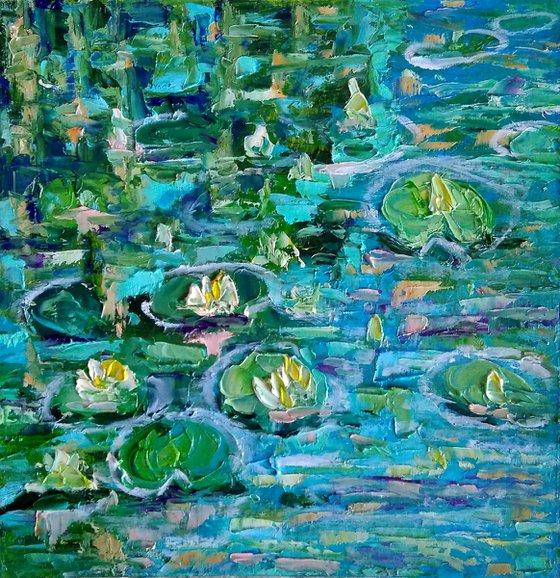 Pond Painting Original Art Water Lily Artwork Monet Landscape Impasto Floral Wall Art