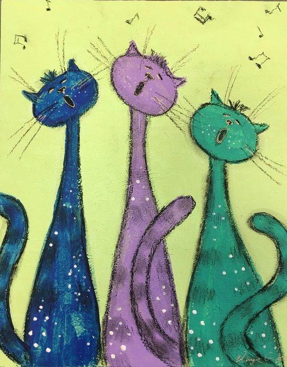 Three tenors. Abstract. Cats.