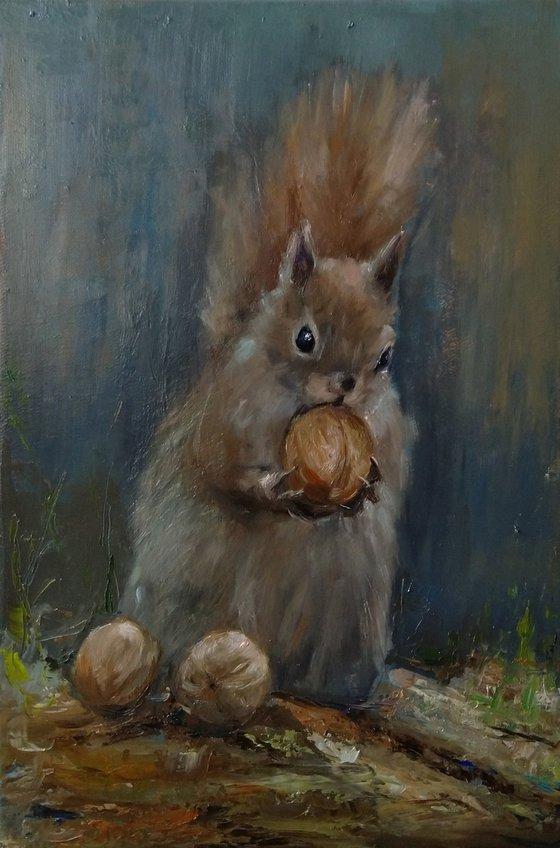 Squirrel(28x42cm, oil painting, impressionistic)