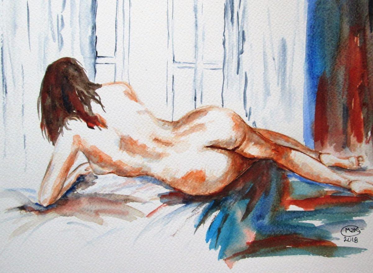 Original Art Work Watercolor Painting Erotic Male Man Nude Gay Summer Looks