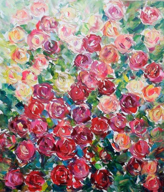 Red Rose Flower, Original Oil Painting, Impasto Rose Art, Abstract Rose Flower, Painting Floral Wall art Oil painting, Painting flower gift