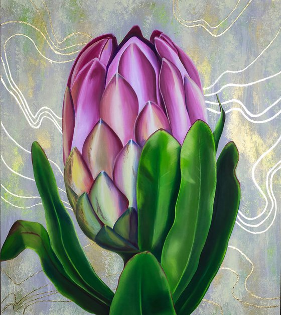 Royal Protea / Original painting with flowers and gold elements