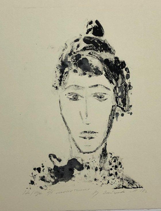 Ida. The muse. Original print. Monotype.