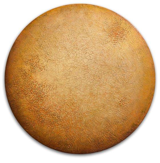 Orange Moon   Textured Round Wall Art