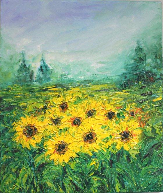 Morning Glory, Sunflower fields - Oil painting Palette Knife Textured Artwork - Impressionistic landscape - Van gogh inspired