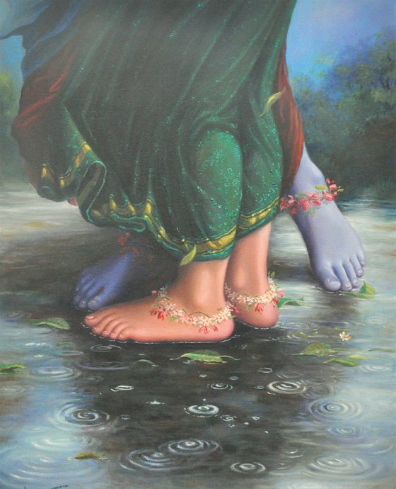 The Dancing Droplets On – The Lotus Feets | Oil Painting By Hari Om Singh