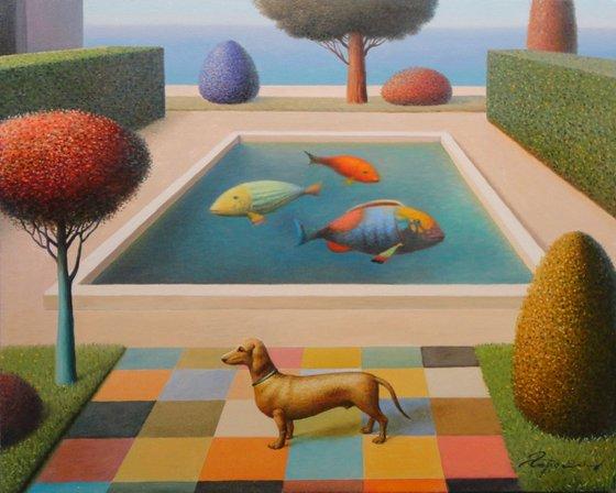 """Dog in a Garden 17""""x21"""" 2015"""