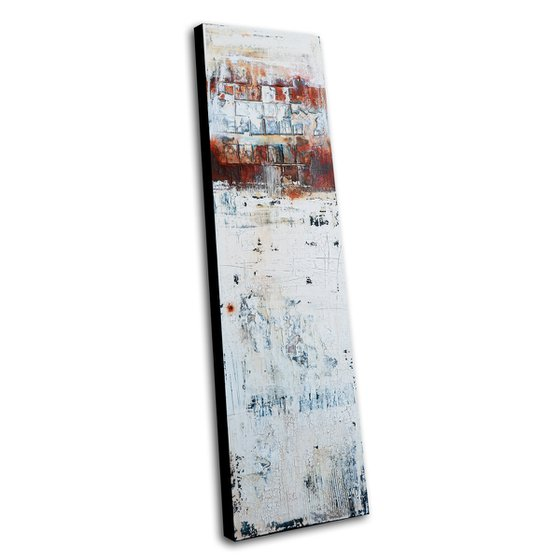 MISSING PARTS * 40 x 140 CMS * ABSTRACT ACRYLIC PAINTING ON CANVAS * WHITE * RUST