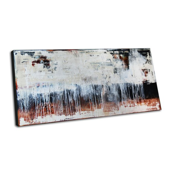 """WALL FRAGMENTS * 63"""" x 31.5"""" * ACRYLIC PAINTING ON CANVAS * WHITE * BROWN"""